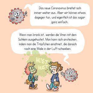 Ein Panel von einem Comic ?ber den Coronavirus