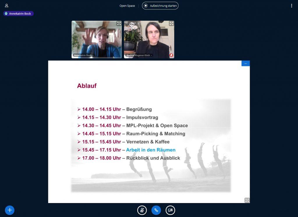 Annekatrin Bock und Nadine Wagener-Böck bei der Moderation des Open Space, der am 27.04.2021 im virtuellen Braunschweiger Raum stattfand.